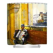 Accordeonist In Florence In Italy Shower Curtain