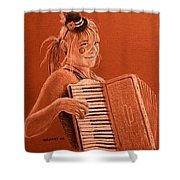 Accordion Girl Shower Curtain by Michael Beckett