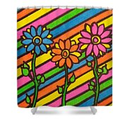 Aceo Abstract Flowers Shower Curtain
