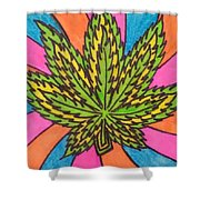 Aceo Cannabis Abstract Leaf  Shower Curtain