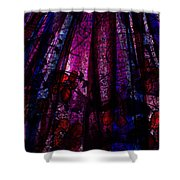 Acid Rain With Red Flowers Shower Curtain