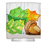 Acorn And Leaves Shower Curtain