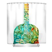 Acoustic Guitar 2 - Colorful Abstract Musical Instrument Shower Curtain