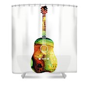 Acoustic Guitar - Colorful Abstract Musical Instrument Shower Curtain by Sharon Cummings