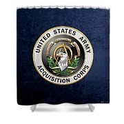 Acquisition Corps - A A C Branch Insignia Over Blue Velvet Shower Curtain