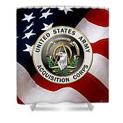 Acquisition Corps - A A C Branch Insignia Over U. S. Flag Shower Curtain