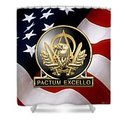 Acquisition Corps - A A C Regimental Insignia U. S. Flag  Shower Curtain