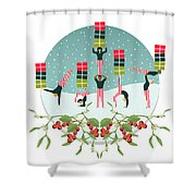 Acrobatic Parcel Delivery Shower Curtain