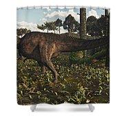 Acrocanthosaurus Dinosaur Roaming Shower Curtain