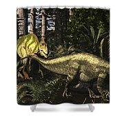 Acrocanthosaurus Hunting Tenontosaurus Shower Curtain
