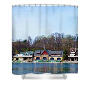 Across From Boathouse Row - Philadelphia Shower Curtain by Bill Cannon