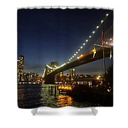 Across The Brooklyn Bridge To Manhattan At Night Shower Curtain