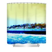 Across The Dam To Boathouse Row. Shower Curtain by Bill Cannon