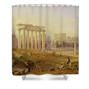 Across The Forum - Rome Shower Curtain by Hugh William Williams