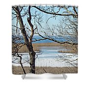 Across The Marsh To Woodneck Beach - Cape Cod Shower Curtain
