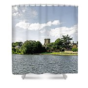 Across The Pool At Melbourne Hall Shower Curtain by Rod Johnson