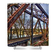 Across The Water 6th Street Rr Bridge Augusta Georgia Art Shower Curtain