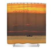 Activity On Lake Simcoe Two  Shower Curtain