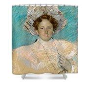 Adaline Havemeyer In A White Hat Shower Curtain