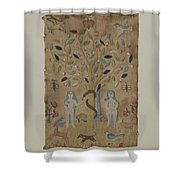 Adam & Eve Embroidered Picture Shower Curtain