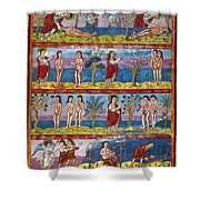 Adam And Eve. 9th Century Shower Curtain