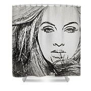 Adele Charcoal Sketch Shower Curtain