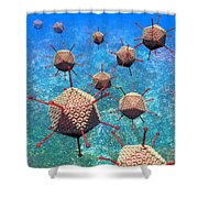 Adenovirus Particles 3 Shower Curtain by Russell Kightley