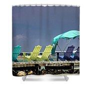 Adirondack Chairs At Coyaba Mahoe Bay Jamaica. Shower Curtain
