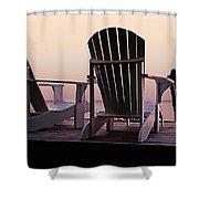 Adirondack Chairs Dockside At Lavender Haze Twilight Shower Curtain