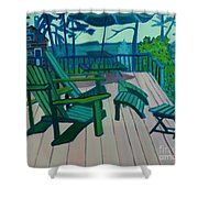 Adirondack Chairs Maine Shower Curtain