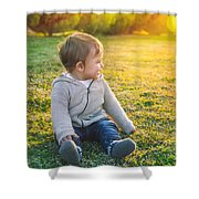 Adorable Baby Playing Outdoors Shower Curtain