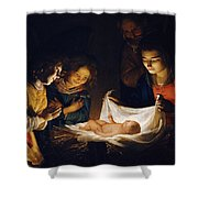 Adoration Of The Child Shower Curtain
