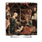 Adoration Of The Child With Saints 1460 65 Fra Filippo Lippi Shower Curtain