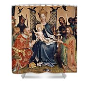 Adoration Of The Magi Altarpiece Shower Curtain by Stephan Lochner