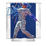 Adrian Gonzalez Los Angeles Dodgers Oil Art Shower Curtain