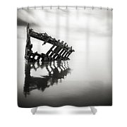 Adrift At Sea In Black And White Shower Curtain