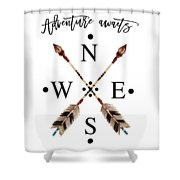 Adventure Waits Typography Arrows Compass Cardinal Directions Shower Curtain