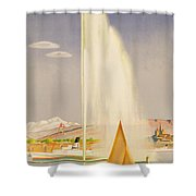 Advertisement For Travel To Geneva Shower Curtain