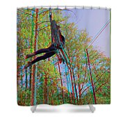 Aerial Artist - Use Red-cyan 3d Glasses Shower Curtain