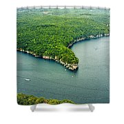 Aerial Image Of  Long Point Cliff Shower Curtain