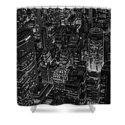 Aerial New York City Skyscrapers Bw Shower Curtain