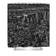 Aerial New York City Sunset Bw Bw Shower Curtain