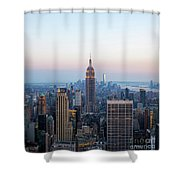 Aerial Night View Of Manhattan Skyline In New York Shower Curtain