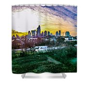 Aerial Of Charlotte North Carolina Skyline Shower Curtain