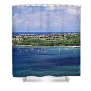 aerial of  Hanalei Bay and Princeville Resort Shower Curtain