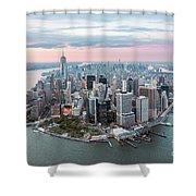 Aerial Of Lower Manhattan Peninsula At Sunset, New York, Usa Shower Curtain