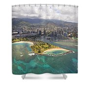Aerial Of Magic Island Shower Curtain