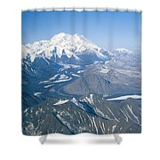 Aerial Of Mount Mckinley Shower Curtain