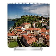 Aerial Of Piran Slovenia On Gulf Of Trieste Adriatic Sea With St Shower Curtain