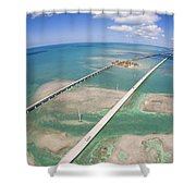 Aerial Of Seven Mile Bridge At Extreme Shower Curtain